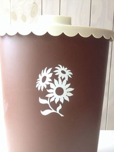 Retro Waste Basket with a lid by WhereTheRobinSings on Etsy