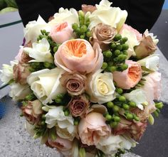 Bride's Bouquet - Peach David Austin Roses with Amnesia Roses, White Roses, Green Hypericum Berries and White Freesia