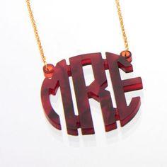 Acrylic Circle Monogram Necklace