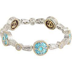 DeLatori: silver/gold with blue turquoise bracelet