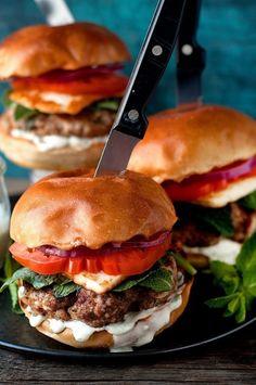 Lamb Burgers with Halloumi Cheese. Juicy spicy lamb burgers with fried halloumi cheese and garlic sauce . Great Burger Recipes, Best Burger Recipe, Gourmet Recipes, Beef Recipes, Cooking Recipes, Healthy Recipes, Sandwich Recipes, Recipes, Mayonnaise