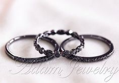 Black Diamond Ring Set! 14k White Gold Full Milgrain Black Diamond Ring & Half Eternity Wedding Band / Engagement Ring/ Anniversary Ring