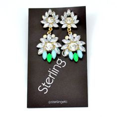 Marquise Cluster Drops Green/Light Blue; $29