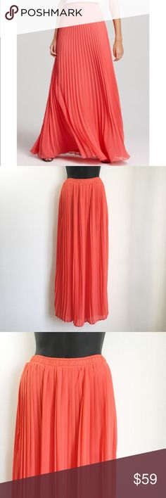 L'Atiste by Amy Coral Pleated Maxi Skirt • L'Atiste by Amy for Nordstrom • Maxi Style Skirt • Mini Skirt Style Liner • Stretchy / Elastic Waist • Pleated Style  Size: Small Color: Coral / Orange Condition: Excellent Used Condition - Like New Material: 100% Polyester Lining: 98% Polyester 2% Spandex *Stock photo shown for fit and style*  Measurements Length: 39 inches Waist: 25 inches All measurements are approximate.  No stains, rips, tears | Pet/Smoke free home. Offers welcomed ✨ L'Atiste…