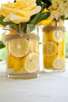 Gorgeous & simple centerpiece for a lemon party