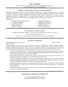 secondary school teacher resume sample notice the job description and dont forget the