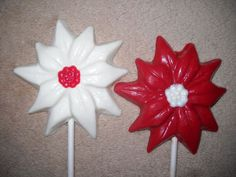 1 Chocolate Christmas large multi color poinsettia flower Lollipops Lollipop #CastleRockChocolatesSapphireChocolates