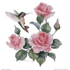 Ruby-throated Hummingbird Clip Art | Homepage › Animals › Ruby Throated Hummingbird W Roses II »