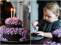 A cake you would be happy to feed children - Chocolate cake with blueberry cream cheese frosting (GF, RSF)