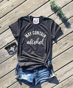 may contain alcohol shirt, cinco de mayo shirt, dark grey unisex tee, day drinking shirt, lets day drink, brunch shirt, sunday funday shirt