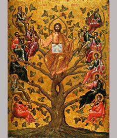 Handmade Eastern Orthodox icon of Jesus Christ as the True century Byzantine icon in the Byzantine Museum of Athens. Byzantine Icons, Byzantine Art, Religious Icons, Religious Art, Church Icon, Oriental, True Vine, Catholic Art, First Art