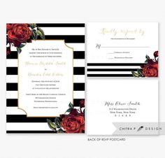 Red Black White Wedding Invitations with luxe envelopes and RSVP Postcards...or add envelopes with optional custom return address printing. Gold lined envelopes available. Printed, Striped Gold Winter Floral Invite Rose Art Deco Gothic Halloween Kate spade inspired - Chitrap.etsy.com
