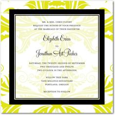 Multiple colors offered -- seemed gardeny, but classic and elegant at the same time  http://www.weddingpaperdivas.com/product/7612/signature_white_textured_wedding_invitations_bold_tropical.html#color/03/pid/7612