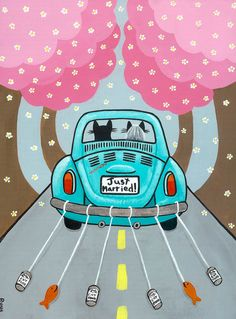 Purple Volkswagen Bug Road Trip Original Cat от KilkennycatArt