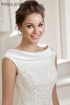 A scoop is a U-shaped, low circular neckline that opens up the neck and beautifully displays the collarbone. This round neckline is universally flattering and can be cut higher or lower. Please con… Ronald Joyce Wedding Dresses, Dream Wedding Dresses, Designer Wedding Dresses, Bridal Dresses, Wedding Gowns, Bridesmaid Dresses, Mori Lee Bridal, Evening Dresses, Formal Dresses