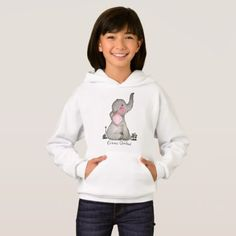 Watercolor Cute Baby Elephant With Blush & Flowers Hoodie - girl gifts special unique diy gift idea