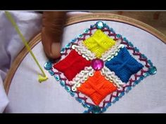Hand Embroidery Designs | Gujrati stitch for cushion cover | Stitch and Flowe-75 - YouTube