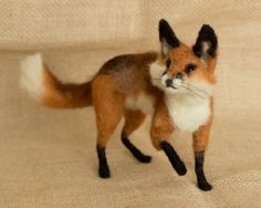 Marshall the Red Fox: Needle felted animal sculpture