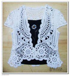Openwork Bolero free crochet graph pattern / crochet ideas and tips . Crochet Circle Vest, Cardigan Au Crochet, Crochet Coat, Crochet Circles, Crochet Buttons, Crochet Shirt, Crochet Jacket, Crochet Clothes, Lace Cardigan