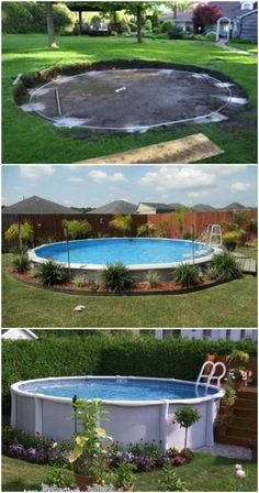 Genius Pool Hacks to Transform Your Backyard Into Your Own Private Paradise Surround Your Aboveground Pool with Beautiful Plants.Surround Your Aboveground Pool with Beautiful Plants. Above Ground Pool Landscaping, Above Ground Pool Decks, Backyard Pool Landscaping, In Ground Pools, Landscaping Ideas, Acreage Landscaping, Above Ground Swimming Pools, Tropical Landscaping, Backyard Ideas