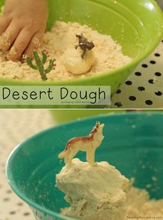 "Give your kids a fun sensory experience with this 2-ingredient ""Desert Dough."""