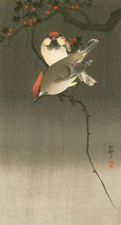 Свиристели на вишнёвом дереве, Косон Охара (1877 г. - 1945 г.), японский художник и гравёр