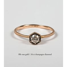 Hexagon Ring, Champagne Diamond - Engagement Rings - Catbird
