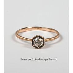 Hexagon Ring, Champagne Diamond - Engagement Rings - Catbird