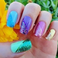 Pretty Pastel Nails with Glitter only on half the nail...Cute!