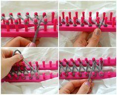 diy infinity scarf with a knitting loom diy craft projects Diy Knitting Scarf, Loom Scarf, Loom Knitting Stitches, Knifty Knitter, Loom Knitting Projects, Loom Blanket, Loom Crochet, Loom Weaving, Loom Patterns
