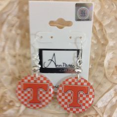 Licensed Collegiate Earrings - Tennessee Volunteer checkerboard logo by AnnPedenJewelry on Etsy