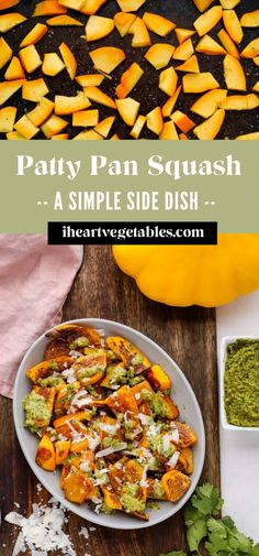 This roasted patty pan squash recipe is a deliciously simple way to enjoy this hearty summer squash. Season it with spices or top it with cilantro pesto for a flavorful side dish! #squash #oven-roasted #dinner #simple #vegetarian Patty Pan Squash Recipes, Summer Recipes, Fall Recipes, Great Recipes, Favorite Recipes, Vegan Dinner Recipes, Vegan Dinners, Vegetarian Recipes