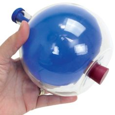 KIT: Harbottle Differential Pressure Demonstration:  to teach your students about the amazing properties of air pressure. Simply stretch the neck of the balloon over the mouth of the bottle and blow into the balloon. Once it's inflated, insert the rubber stopper into the hole at the bottom of the bottle. The balloon remains inflated though nothing seems to be stopping the air from escaping! A great starter for atmospheric pressure discussions. Bottom Of The Bottle, The Balloon, Glass Globe, Homeschool, Balloons, Students, Science, Kit, Teaching