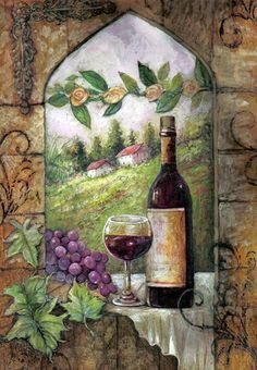 Wine art, wine paintings by noted artist Jamie Carter. Wine Bottle Art, Wine Art, Decoupage Vintage, Decoupage Paper, Warm Wine, Wine Images, Decoupage Printables, Wine Painting, Window View