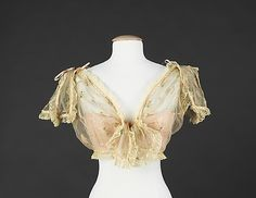 """1895-1905 Sexy Lingerie listed by the museum as a Camisole. Marked: """"B. Altman & Co./Paris/New York"""". Made of Silk, linen and metal. Simply Beautiful!  see the back view of it at http://www.metmuseum.org/collections/search-the-collections/80096668?rpp=60=16=on=*=Underwear=1"""