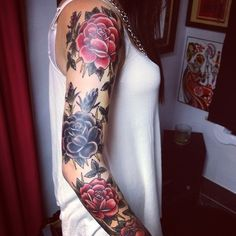 Best representation descriptions: Rose Sleeve Tattoo Designs Related searches: Sleeve Tattoos for Men,Half Sleeve Tattoos for Men,Half Slee. Rosen Tattoo Arm, Rosen Tattoos, Rose Sleeve, Floral Sleeve, Sleeve Tattoos For Women, Tattoo Sleeve Designs, Tattoo Women, Tattoo Sleeves, Arm Sleeves