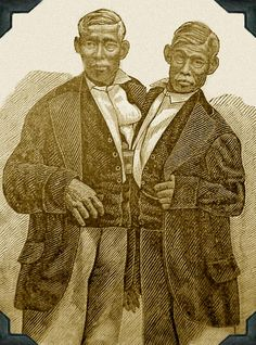 """Chang-Eng Bunker, the original """"Siamese Twins. Sword Swallower, Conjoined Twins, Mount Airy, Sideshow, Bunker, Siamese, Around The Worlds, Statue, The Originals"""