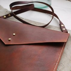 Crossbody brown leather hand dyed bag ipad case tablet