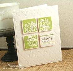 idea--stamp a larger stamp and punch it into smaller squares.