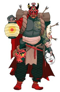 Wizard with many masks, inspiration for the Masked Man, a shaman from my fantasy series Nine Tails