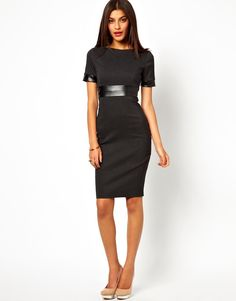 Vesper Dress with Faux Leather Waist Detail women fashion outfit clothing  style apparel closet ideas