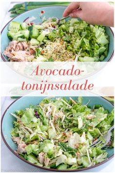 Avocado Tonijnsalade – Nadia's Healthy World - Essen Healthy Salads, Healthy Cooking, Healthy Recipes, Avocado Recipes, Salad Recipes, Avocado Health Benefits, Clean Eating, I Foods, Food Inspiration