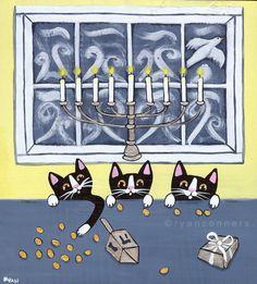Hanukkah Cats Original Folk Art Painting by KilkennycatArt on Etsy