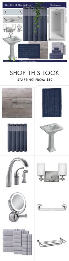 """""""Bliss of Blue and Grey"""" by emjule ❤ liked on Polyvore featuring interior, interiors, interior design, home, home decor, interior decorating, Miseno, Nordstrom, Hookless and Kohler"""