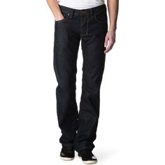 Diesel Larkee 0878 regular-fit straight jeans ($105) ❤ liked on Polyvore featuring men's fashion, men's clothing, men's jeans, mens straight jeans, mens dark wash jeans, mens straight leg jeans, mens button fly jeans and diesel mens jeans