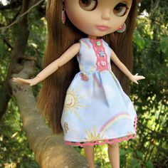 Happy Summer Blythe Doll Dress with Blue Sky, Clouds, Rainbows | Brown Eyed Rose