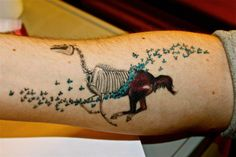 Equus tattoo. quite original, galloping horse consumed or revealed to the skeleton by butterflies.