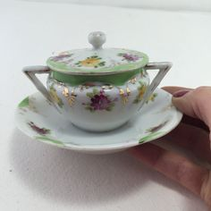 Bone China Sugar Bowl Hand Painted Flowers Vintage Condiment