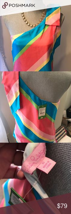 "Lilly Pulitzer Roe One Shoulder top size 10 new gorgeous, one shoulder Lilly ""Roe"" top in multi color stripe, size 10, new with tags NWT. Lilly Pulitzer Tops Blouses"