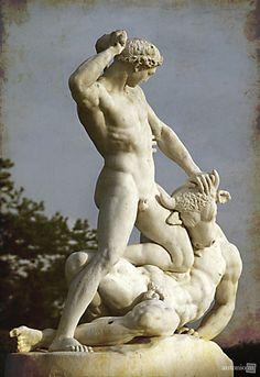 Theseus Flighting the Minotaur - Étienne Jules Ramey, Jardin des Tuileries, Paris. #sculpture #male #physique
